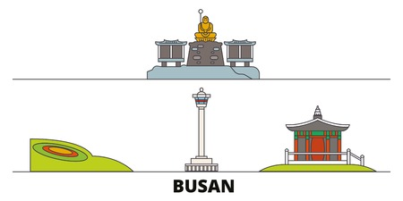 South Korea, Busan flat landmarks vector illustration. South Korea, Busan line city with famous travel sights, design skyline.