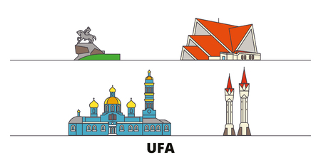 Russia, Ufa flat landmarks vector illustration. Russia, Ufa line city with famous travel sights, design skyline.  イラスト・ベクター素材
