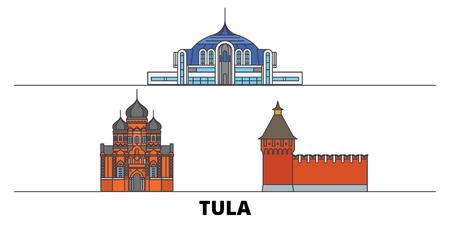 Russia, Tula flat landmarks vector illustration. Russia, Tula line city with famous travel sights, design skyline.