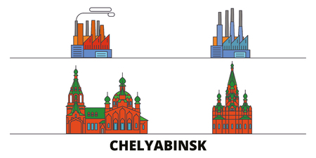 Russia, Chelyabinsk flat landmarks vector illustration. Russia, Chelyabinsk line city with famous travel sights, design skyline.