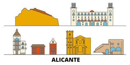 Spain, Alicante flat landmarks vector illustration. Spain, Alicante line city with famous travel sights, design skyline.  イラスト・ベクター素材