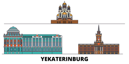 Russia, Yekaterinburg City flat landmarks vector illustration. Russia, Yekaterinburg City line city with famous travel sights, design skyline.