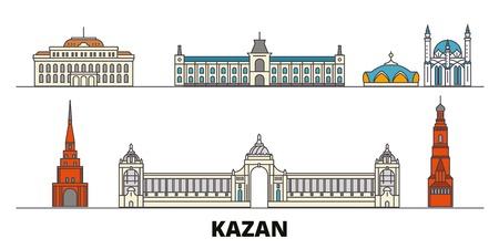 Russia, Kazan flat landmarks vector illustration. Russia, Kazan line city with famous travel sights, design skyline.