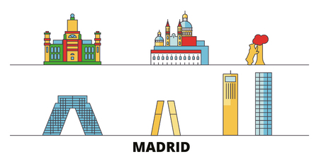 Spain, Madrid City flat landmarks vector illustration. Spain, Madrid City line city with famous travel sights, design skyline.