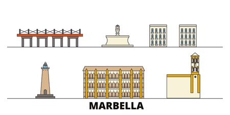 Spain, Marbella flat landmarks vector illustration. Spain, Marbella line city with famous travel sights, design skyline. Illustration