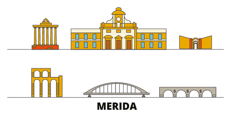 Spain, Merida flat landmarks vector illustration. Spain, Merida line city with famous travel sights, design skyline. Ilustrace