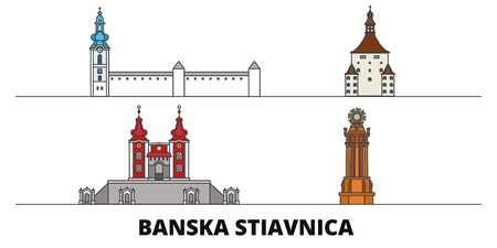 Slovakia, Banska Stiavnica flat landmarks vector illustration. Slovakia, Banska Stiavnica line city with famous travel sights, design skyline.