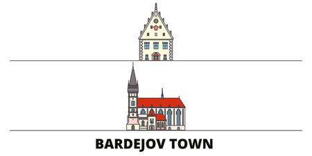 Slovakia, Bardejov Town flat landmarks vector illustration. Slovakia, Bardejov Town line city with famous travel sights, design skyline.