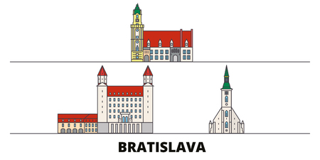 Slovakia, Bratislava flat landmarks vector illustration. Slovakia, Bratislava line city with famous travel sights, design skyline.