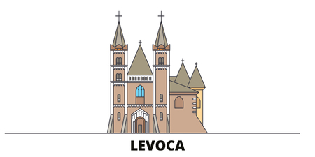 Slovakia, Levoca flat landmarks vector illustration. Slovakia, Levoca line city with famous travel sights, design skyline.