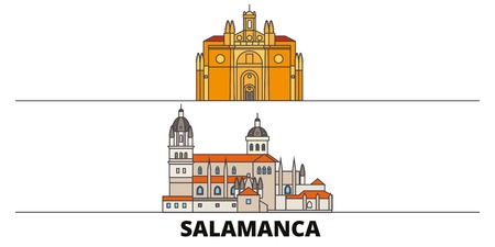 Spain, Salamanca flat landmarks vector illustration. Spain, Salamanca line city with famous travel sights, design skyline.