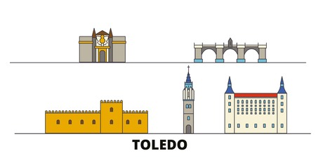 Spain, Toledo flat landmarks vector illustration. Spain, Toledo line city with famous travel sights, design skyline. Illustration