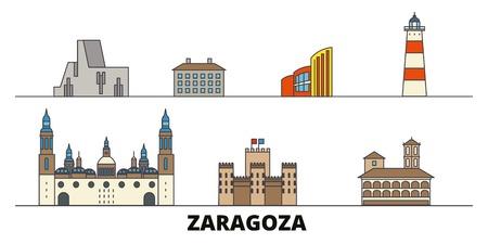Espagne, Saragosse télévision landmarks vector illustration. Espagne, Saragosse line city avec de célèbres sites de voyage, design skyline.