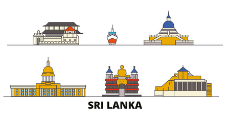 Sri Lanka flat landmarks vector illustration. Sri Lanka line city with famous travel sights, design skyline. Ilustração