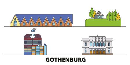Sweden, Gothenburg flat landmarks vector illustration. Sweden, Gothenburg line city with famous travel sights, design skyline. Standard-Bild - 120891546