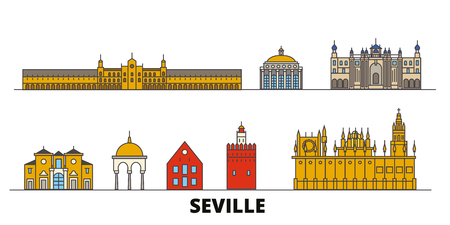 Spain, Seville flat landmarks vector illustration. Spain, Seville line city with famous travel sights, design skyline.