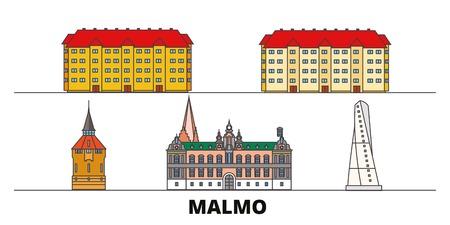 Schweden, Malmö flache Wahrzeichen Vector Illustration. Schweden, Malmö-Linienstadt mit berühmten Reisesehenswürdigkeiten, Design-Skyline.