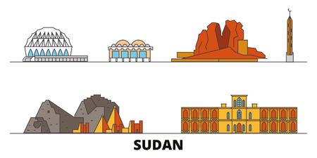 Sudan flat landmarks vector illustration. Sudan line city with famous travel sights, design skyline. Illustration