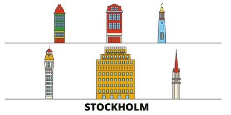 Sweden, Stockholm flat landmarks vector illustration. Sweden, Stockholm line city with famous travel sights, design skyline. Standard-Bild - 120891550