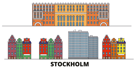 Sweden, Stockholm City flat landmarks vector illustration. Sweden, Stockholm City line city with famous travel sights, design skyline. Archivio Fotografico - 120891552