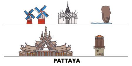 Thailand, Pattaya flat landmarks vector illustration. Thailand, Pattaya line city with famous travel sights, design skyline. Illustration