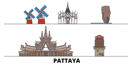 Thailand, Pattaya flat landmarks vector illustration. Thailand, Pattaya line city with famous travel sights, design skyline. Ilustração