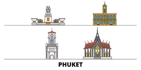 Thailand, Phuket flat landmarks vector illustration. Thailand, Phuket line city with famous travel sights, design skyline.