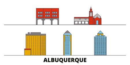 United States, Albuquerque City flat landmarks vector illustration. United States, Albuquerque City line city with famous travel sights, design skyline. Illustration