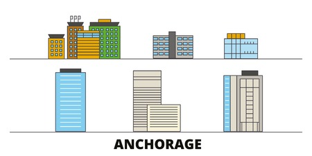 United States, Anchorage flat landmarks vector illustration. United States, Anchorage line city with famous travel sights, design skyline.