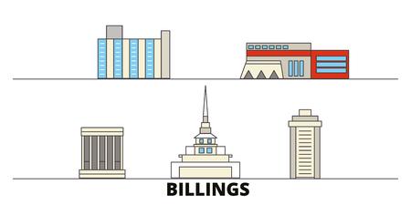 United States, Billings flat landmarks vector illustration. United States, Billings line city with famous travel sights, design skyline.