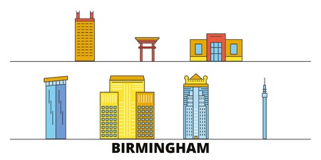 United States, Birmingham flat landmarks vector illustration. United States, Birmingham line city with famous travel sights, design skyline. Illustration