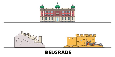 Serbia, Belgrade flat landmarks vector illustration. Serbia, Belgrade line city with famous travel sights, design skyline.