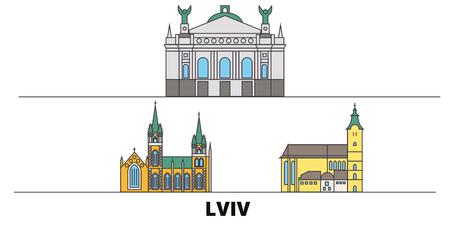 Ukraine, Lviv flat landmarks vector illustration. Ukraine, Lviv line city with famous travel sights, design skyline.