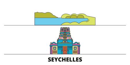 Seychelles flat landmarks vector illustration. Seychelles line city with famous travel sights, design skyline. Иллюстрация