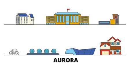 United States, Aurora flat landmarks vector illustration. United States, Aurora line city with famous travel sights, design skyline.