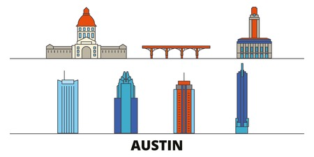 United States, Austin flat landmarks vector illustration. United States, Austin line city with famous travel sights, design skyline.