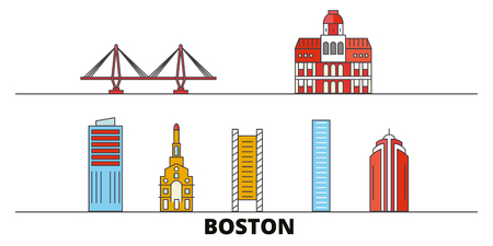 United States, Boston City flat landmarks vector illustration. United States, Boston City line city with famous travel sights, design skyline. 向量圖像