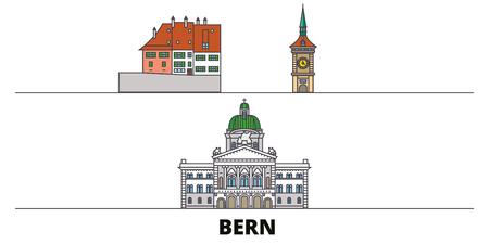 Switzerland, Bern flat landmarks vector illustration. Switzerland, Bern line city with famous travel sights, design skyline.