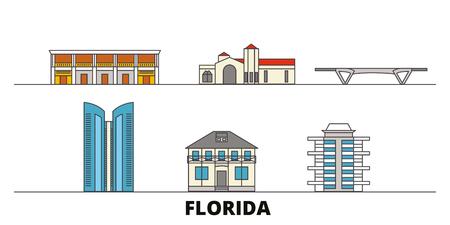 United States, Fort Lauderdale flat landmarks vector illustration. United States, Fort Lauderdale line city with famous travel sights, design skyline. Illustration