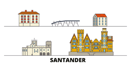 Spain, Santander flat landmarks vector illustration. Spain, Santander line city with famous travel sights, design skyline.