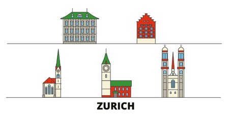 Switzerland, Zurich flat landmarks vector illustration. Switzerland, Zurich line city with famous travel sights, design skyline. Illustration
