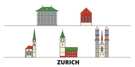 Switzerland, Zurich flat landmarks vector illustration. Switzerland, Zurich line city with famous travel sights, design skyline.  イラスト・ベクター素材