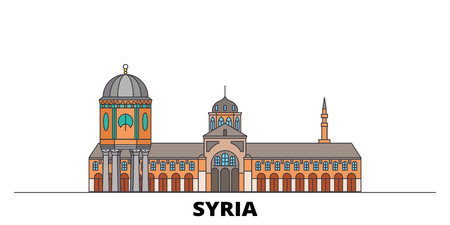 Syria flat landmarks vector illustration. Syria line city with famous travel sights, design skyline.
