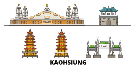 Taiwan, Kaohsiung flat landmarks vector illustration. Taiwan, Kaohsiung line city with famous travel sights, design skyline.