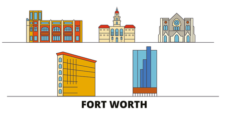 United States, Fort Worth flat landmarks vector illustration. United States, Fort Worth line city with famous travel sights, design skyline.