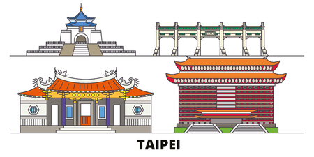 Taiwan, Taipei flat landmarks vector illustration. Taiwan, Taipei line city with famous travel sights, design skyline. 矢量图像