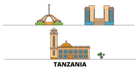 Tansania flache Wahrzeichen Vektor-Illustration. Tansania-Linienstadt mit berühmten Reisesehenswürdigkeiten, Design-Skyline.