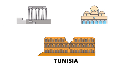 Tunisia flat landmarks vector illustration. Tunisia line city with famous travel sights, design skyline.