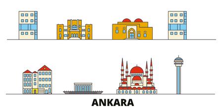 Turkey, Ankara flat landmarks vector illustration. Turkey, Ankara line city with famous travel sights, design skyline. Illustration