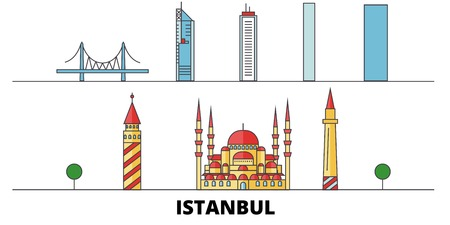 Turkey, Istanbul flat landmarks vector illustration. Turkey, Istanbul line city with famous travel sights, design skyline.